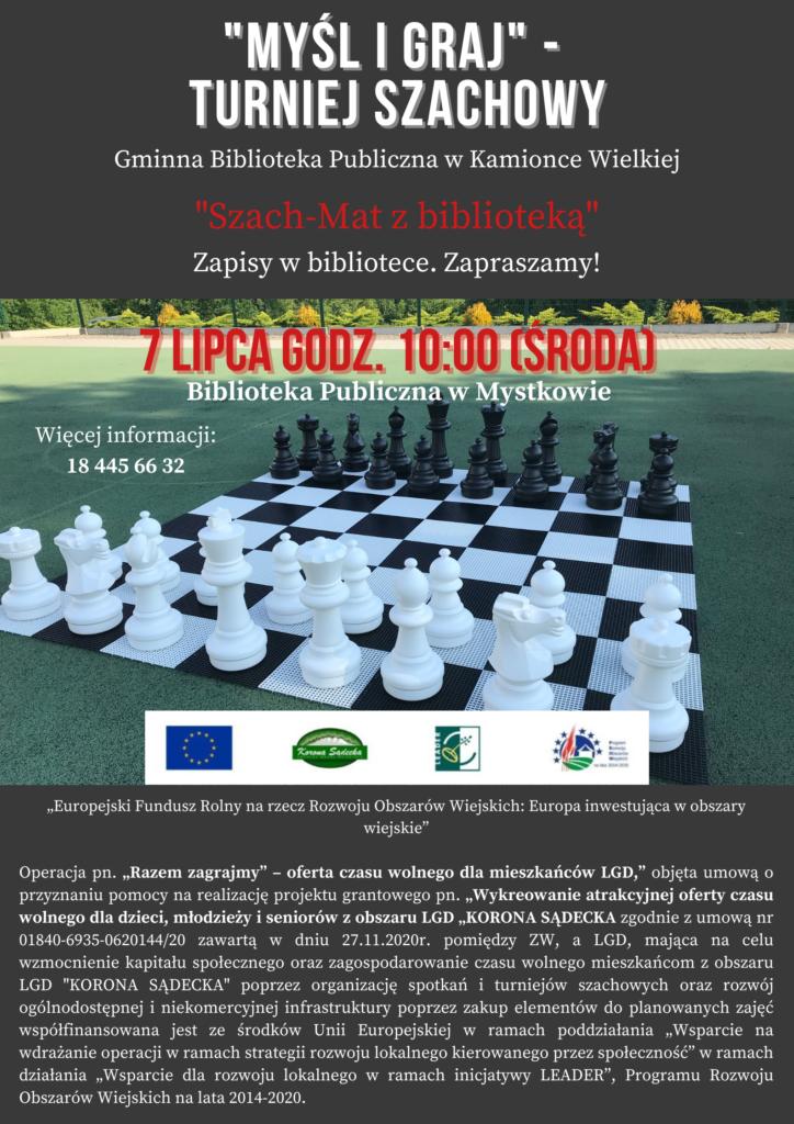 Plakat promujący turniej szachowy.