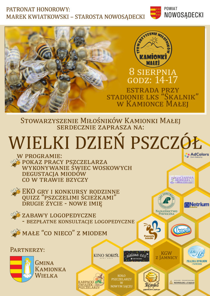Plakat promujący wydarzenie Wielki Dzień Pszczół.