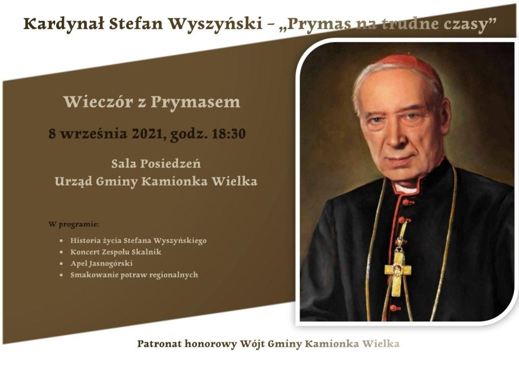 Grafika promująca wieczór z Prymasem. 8 września 2021 roku, godz. 18:30, Sala Posiedzeń Urząd Gminy Kamionka Wielka.